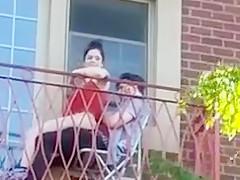Kubanisches Paar beim Fick auf dem Balkon!