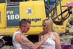 German blonde amateur milf seduced outdoor for creampie